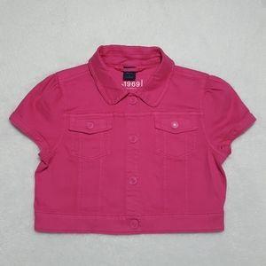 GAP Kids girls' cap-sleeved cropped denim jacket